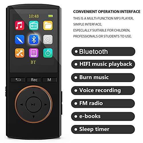 Reproductor MP3 Bluetooth Mejorado 32GB, Multifunción Música Grabador FM Radio, Rasgando, Shuffle, HiFi, Negro Mate(Auriculares con Cable, Cable Auxiliar y Cable Micro USB incluidos)