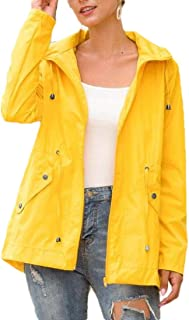 Women Rain Jacket Windbreaker Waterproof Raincoat Lightweight Trench Coats