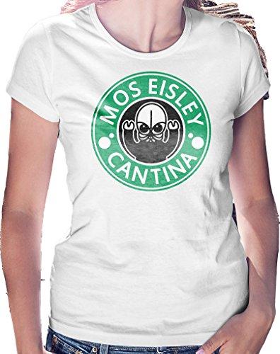 LeRage Shirts Damen T-Shirt Mos Eisley Cantina Star Coffee Parody - Weiß - Klein