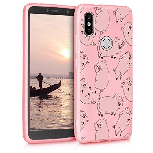 Pnakqil Funda XiaomiRedmiS2 Rosa Ultrafina y Ligero Flexible Soft Carcasa Gel TPU Suave Silicona Piel Case Anti-Golpes Bumper Protectora Cover para Teléfono XiaomiRedmiS2, Cerdo Rosa