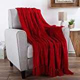 """Chenille Throw Blanket- For Couch, Home Décor, Bed, Sofa & Chair-Oversized 60"""" x 70""""- Lightweight, 5"""" Fringe, Ultra-Soft & Shiny in Lagoon Teal by LHC, Vineyard Red"""