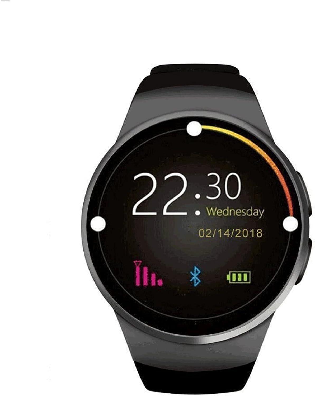 KTYX Smartwatch-Smartcard-Uhr-Call-Smartwatch Runden Zifferblatt Blautooth Verschlei Mode Smartwatch (Farbe   SCHWARZ)