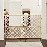 "Toddleroo by North States 42"" wide Diamond Mesh Baby Gate: Installs in seconds. Pressure Mount. Fits 26.5' - 42' wide. (23"" tall, Sustainable Hardwood)"