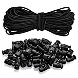 YOTINO 50 Pcs Plastic Cord Locks + 20M Elastic Bungee Cord Crafting Stretch String for Drawstrings, Bags, Shoelaces, Clothing(Black)