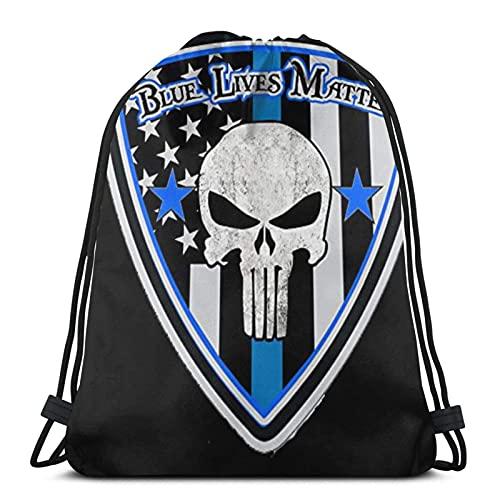 Borse con coulisse blu vite materia polizia distintivo unisex coulisse zaino borsa sportiva corda borsa grande coulisse Tote bag palestra zaino in massa