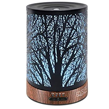 Ultrasonic Cool Mist Essential Oil Diffuser 250 ml Capacity Metal Aromatherapy Diffuser with Waterless Auto Shut-Off Protection 7 Colors Changed LED for Home Office SPA  Tree