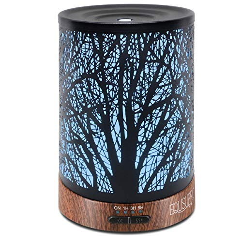 Ultrasonic Cool Mist Essential Oil Diffuser 250 ml Capacity Metal Aromatherapy Diffuser with Waterless Auto Shut-Off Protection 7 LED Changing Colors for Home Office SPA (Tree)