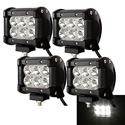 wolketon 4 X 18W LED Arbeitsscheinwerfer Light Bar Flutlicht Offroad Scheinwerfer 12V 24V Zusatzscheinwerfer SUV, UTV, ATV Reflektor Arbeitslicht Rückfahrscheinwerfer