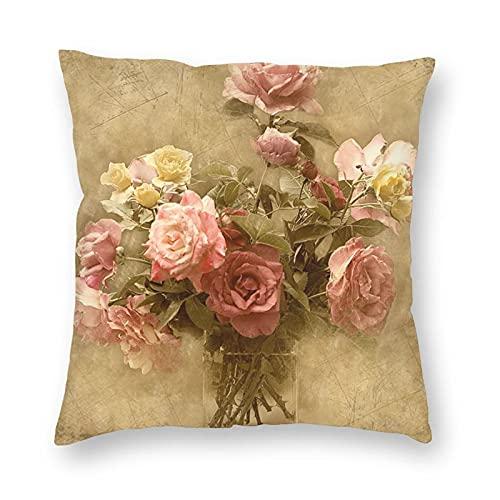 Fundas de Cojín,Rosa Shabby Chic Funda de Almohada Cuadrado de Impresión a Doble Cara,Fundas de Cojines para Cojines Decorativos para Sofá Cama Coche Hogar,60x60cm
