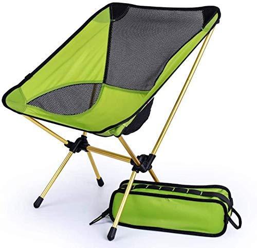 WJXBoos Silla de Camping Plegable, Silla de Playa para Camping/Ligera, sillas portátiles compactas y duraderas para Playa, Camping, mochilero, Festival al Aire Libre (Color: Verde + Soporte Negro)