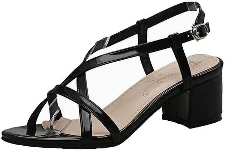AmoonyFashion Women's Patent Leather Solid Buckle Open-Toe Kitten-Heels Sandals, BUTLT007909