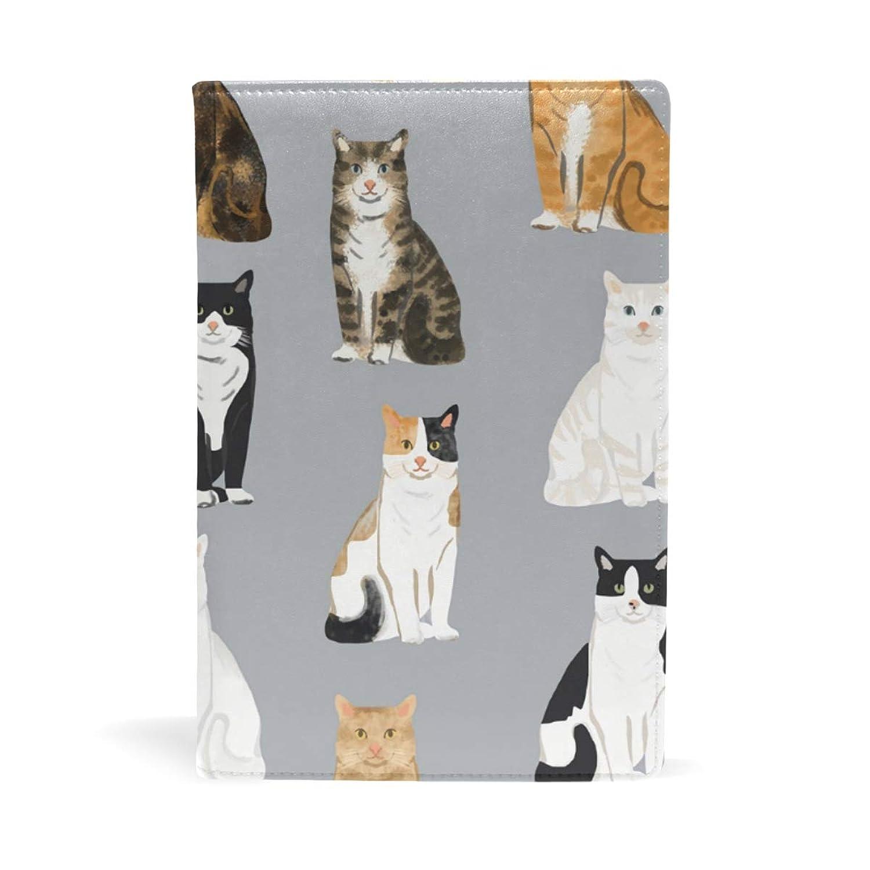スコア咳クスコ猫たち ブックカバー 文庫 a5 皮革 おしゃれ 文庫本カバー 資料 収納入れ オフィス用品 読書 雑貨 プレゼント耐久性に優れ