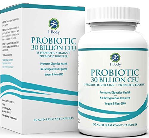 30 Billion CFU Probiotic Supplement with Prebiotics – Patented Acid Resistant Capsules to Promote Gut Health, Support Immune System – Probiotics for Women and Men of All Ages - 60 Vegetarian Capsules