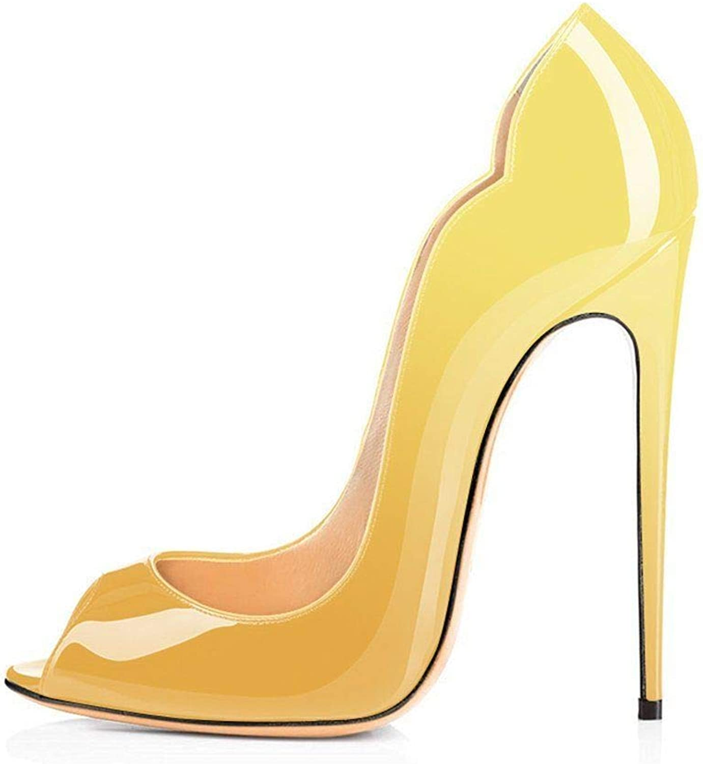 Heels Addict's Women's shoes Peep Toe Wave Shaped Stiletto High Heel Pumps