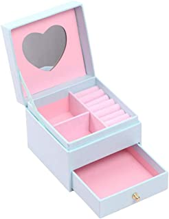 Estuche Organizador de Joyas de Viaje Caja de joyería portátil aretes Anillos Collar Caja de Almacenamiento Titular para Mujeres niñas (Rosa Claro)