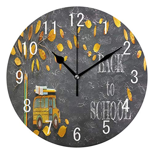 ALAZA Home Decor Back to School Autumn Leaves Bus Round Acrylic 9.5 Inch Wall Clock Non Ticking Silent Clock Art for Living Room Kitchen Bedroom