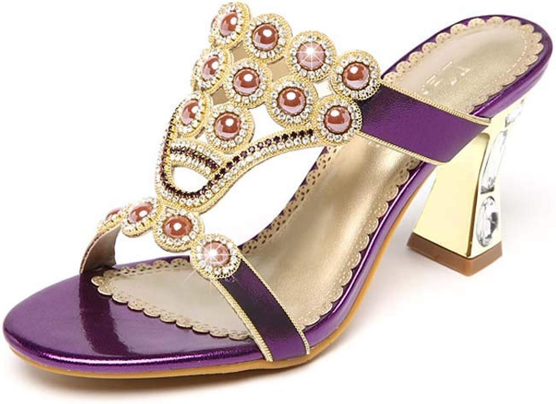 Kvinnors Crystal Sandals PU, sommar Comfort Sandals Chunky Chunky Chunky Heel s, Crystal Heel, Block Heel s Points Toe Crystal guld, grön, lila  försäljningsstället