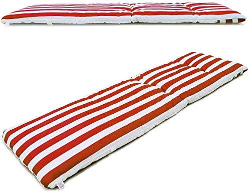 VIGIVISION Cojín para Tumbona Medidas 180 x 55x 5cm Colchón Tumbona Acolchada.Raya Rojo.