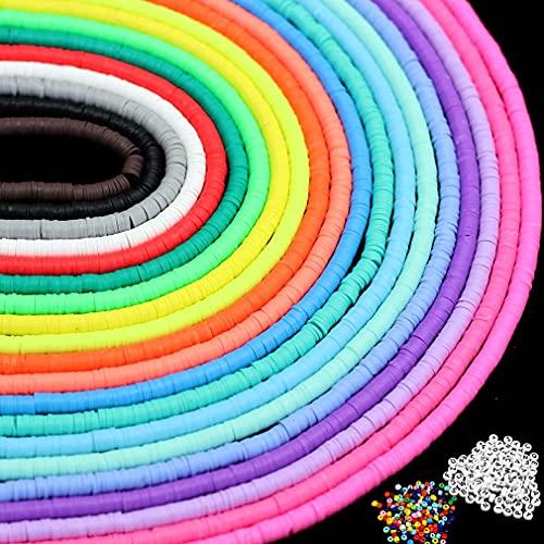 Cuentas de arcilla de 20 hebras de disco de viruta de vinilo,redondas,sueltas hechas a mano,cuentas espaciadoras de fimo de polímero,mutilcolor para hacer joyas(6mm,7600unidades +420 accesorios)