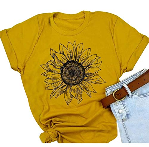 Sunflower Graphic Tee Top T Shirt for Womens Short Sleeve Graphic Casual T Shirts Tee Top (XL, As Shown)