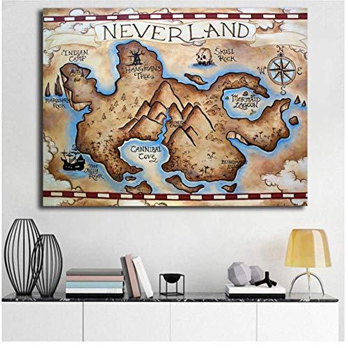 Peter Pan Neverland kaart minimalistische Wall Art Canvas Poster en Print Canvas schilderij decoratieve foto voor slaapkamer Home Decor HD-60x80cmx1pcs- geen Frame
