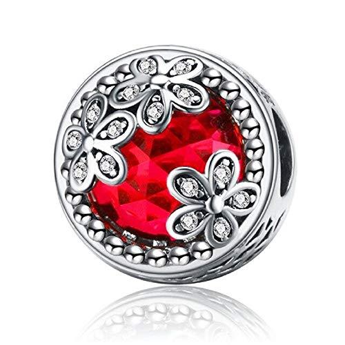 Desconocido JCaleydo - Rote Blumen aus 925er Sterlingsilber mit Geschenkbox, kompatibel mit Pandora-Armband