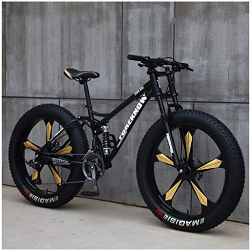 LLP LM MTB Bicycle, 26 Inch Fat Tire Hardtail Mountain Bike, Dual Suspension Frame and Suspension Fork All Terrain Mountain Bike,C,24 Inch 21 Speed