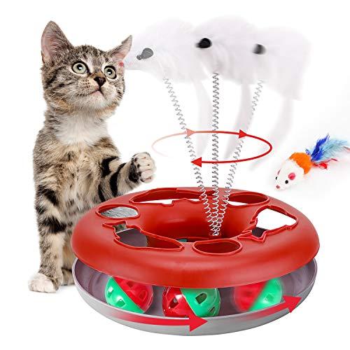 Juguetes para gatos, juguetes interactivos para gatos de interior, juguetes para gatitos Pistas con hierba gatera, juguete para mascotas de primavera con bolas de rodillo Teaser Mouse (rojo)
