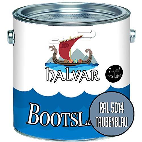 Halvar Bootslack Blau RAL 5000-5024 Yachtlack GLÄNZEND Bootsfarbe Yachtfarbe PU-verstärkt für Holz & Metall verstärkt extrem belastbar hochelastisch Schiffslackierung (2,5 L, RAL 5014 Taubenblau)