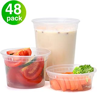 Glotoch Food Storage Containers with Lids 8oz, 16oz, 32oz Freezer Deli Cups Combo Pack, 48 Sets Mixed size BPA-Free Leakproof Round Clear Takeout Container Meal Prep Microwave/Dishwasher/Freezer Safe