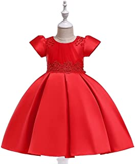SEASHORE Princess Skirt Girl Bow Flower Girl Wedding Performance Piano Costume 4-12 Years Old (Color : Red, Size : 8-9T)