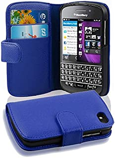Cadorabo Case Works with BlackBerry Q10 in Navy Blue (Design Book Structure) – with 2 Card Slots – Wallet Case Etui Cover Pouch PU Leather Flip
