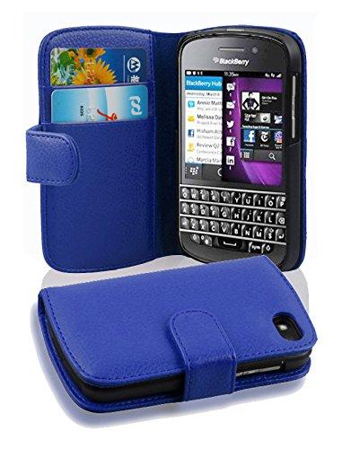 Cadorabo Hülle für BlackBerry Q10 in KÖNIGS BLAU – Handyhülle aus Strukturiertem Kunstleder mit Standfunktion & Kartenfach – Hülle Cover Schutzhülle Etui Tasche Book Klapp Style