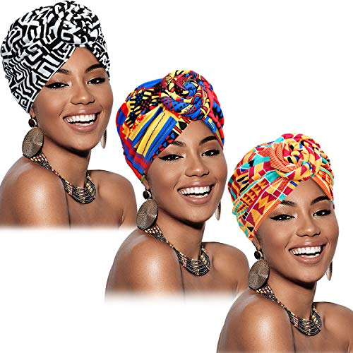SATINIOR 3 Pieces African Turban for Women Knot Pre-Tied Bonnet Beanie Cap Headwrap (Black Orange Pink Geometry)