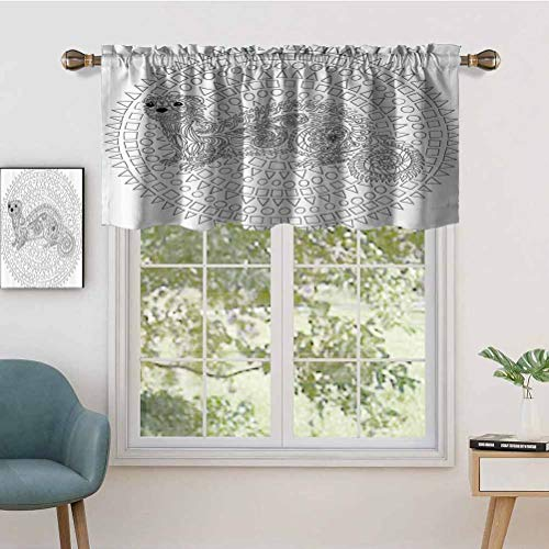 Hiiiman Indoor Privacy Window Valance Curtain Panel Squirrel Surrounded by Geometric Squares Triangles Circles Cute Work, Set of 1, 50'x18' for Sliding Patio Door/Dining