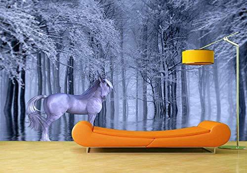 Fotobehang Fotobehang Fantasie Eenhoorn Achtergrond Muurschildering Woonkamer Slaapkamer Vinyl Muurschildering Waterdicht Behang Home Decor-400x280cm(157.5by110.2in)