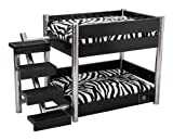LazyBonezz Metropolitan Wood Pet Bunk Bed for Small Dogs and Cats with 2 Soft Cushions, 2 Cushion Covers and Stairs, BLACK