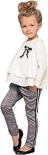 VPASS Ropa Bebé, Conjuntos Bebé Niña 2pcs Conjunto Ropa Bebe Unisex Recien Nacido Verano 2-6 años de Edad Niños Color sólido Mono Volante Camisete de Manga Larga Tops + Pantalones vpass