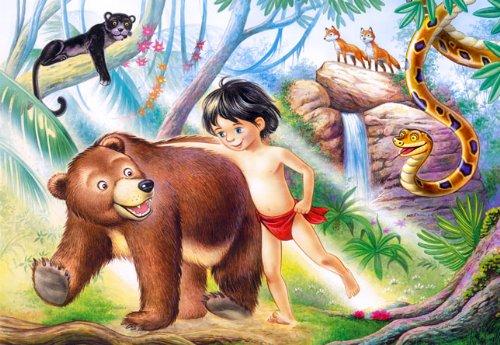 alles-meine.de GmbH Puzzle 60 Teile - Dschungelbuch - Zootiere - Kinderpuzzle für Kinder - Tiere Mowgli Tiger Schlange Märchen