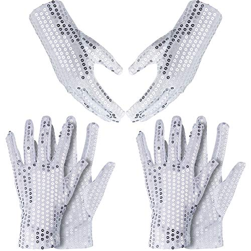 SATINIOR 3 Pairs Sequin Gloves Silver Glitter Gloves Sequin Dance Gloves for Skating Dressing Accessory