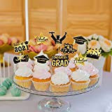 CDLong 72Pcs Graduation Cupcake Toppers, 8 Different Kinds of Graduation Cupcake Picks for Graduation Decorations 2021, Black and Gold cake decorations for 2021 Graduation Party Supplies