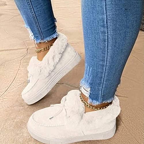 CAICAIL Botas Planas De Moda Casual para Mujer, Gamuza Cómodas Botas para La Nieve Mocasín De Plataforma Zapatos Cálidos Y Duraderos De Invierno, para Viajes Al Aire Libre,7,35
