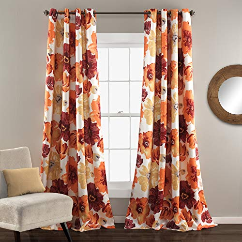 """Lush Decor Room Darkening Window Curtain Panel Pair Leah Floral Insulated Grommet, 84"""" L, Red and Orange"""