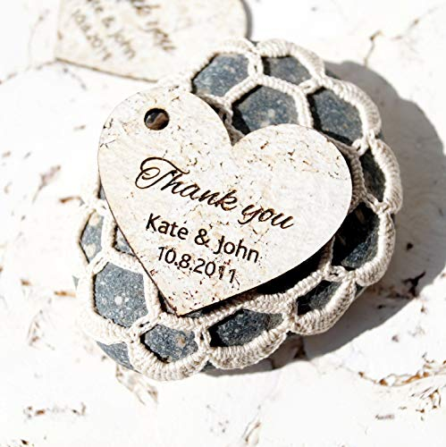 Rustic Favor Tags, Wedding Favor Tags, Heart Gift Tags, Wedding Thank You Tags, White Cork All Natural Tags - Set of 25 pieces