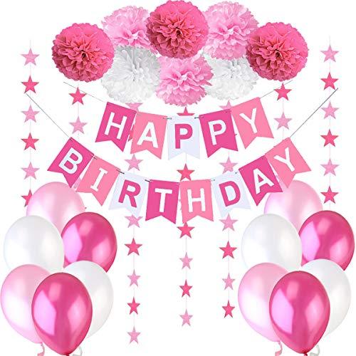 """Décoration Anniversaire Fille Deco - 1 Banderole Bannière Joyeux Anniversaire """"Happy Birthday"""" + 8 Pompon Fleur + 6 metres Guirlande Etoiles+ 12 Ballons 30 cm Rose Blanc Fuchsia"""