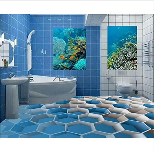 Qqasd 3D Bodenfliesen für Badezimmer benutzerdefinierte 3D Boden Malerei blauen Kasten selbstklebende PVC Bodenbelag 3d wasserdicht-200X120CM