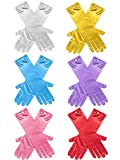 Zhanmai 6 Pairs Girls Satin Gloves Princess Dress Up Bows Gloves Long Formal Gloves for Party, Ages 3 to 8 Years Old (Sky Blue, Red, Purple, Pink, White and Yellow)