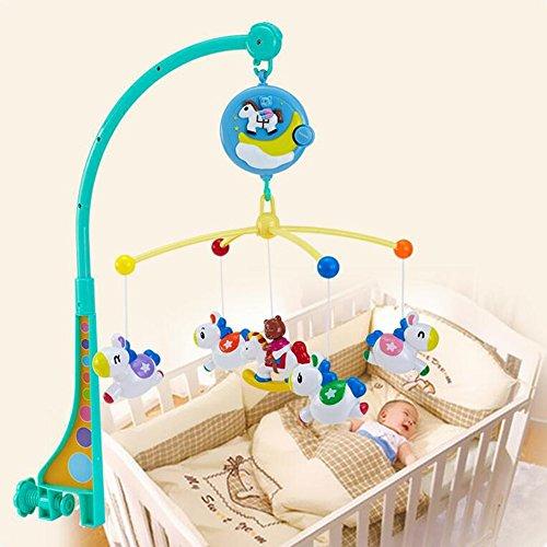 Jouets FEI Nouveau-né Lit bébé Bell éducatifs Musique Rotating Nuit Rattles Début Éducation (Couleur : Bleu)