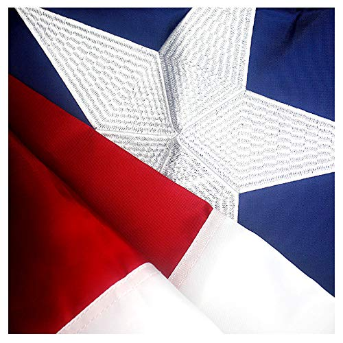VSVO Texas Flag 3x5 ft - Durable 240D Oxford Nylon Outdoor TX Flags - Embroidered Stars, Sewn Stripes, Brass Grommets Outside US Flags.