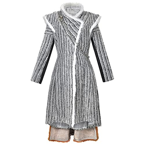 Heldig Women's Coat Game of Thrones Costume Cosplay Daenerys Targaryen Clothes (Color : Gray, Size : Large)